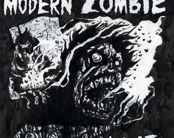 NEW 2014 Coolidge Corner Theatre POSTMORTEM Zombie Illustration and Signed Poster by Mister Reusch