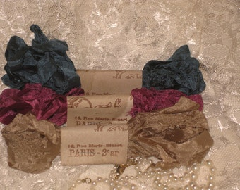 Scrunched Seam Binding ribbon, Crinkled Seam Binding Package French Charm ECS
