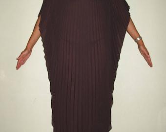 Attica- Brown Sheer Pleated Kaftan Dress