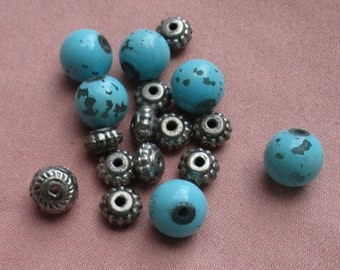 Lot Of Salvaged Turquoise Colored & Silver Colored Plastic Beads Flaking