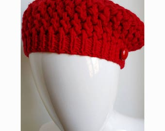 SAMPLE SALE Size Small Merino Wool Hand Knit Hat, Beret or Tam, in Bright Red, Slouch, Chunky, Beanie, Toque, Beanie