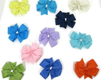 CLEARANCE Solid Color Pinwheel Hair Bows, Back to School Hair Bows, Special Occasion Hair Bows