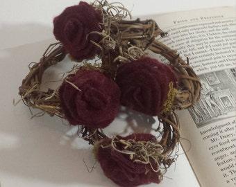 Handmade felt flower napkin rings