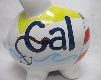 Personalized Piggy Bank Nantucket Nauticle