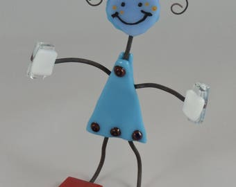 Fused Glass Little Girl w/ Curly Hair in a Blue Dress