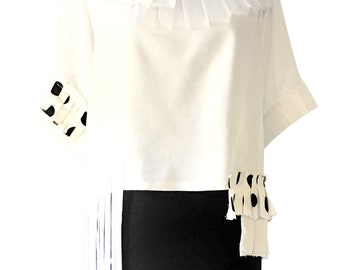 White silk top with pleated ruffles and silk fringes