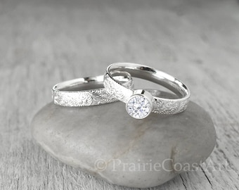CZ Engagement Wedding Ring SET - Sterling Silver - Handcrafted Cubic Zirconia Ring Set -  CZ Engagement Ring and Wedding Band Set
