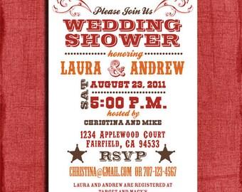 Printable Western Couples Wedding Shower  4x6 Invitation-DIY