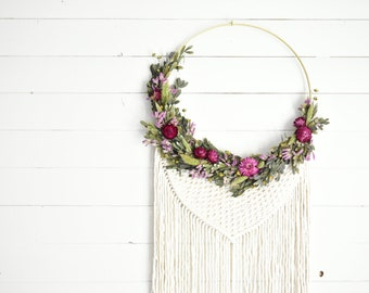 Dried Floral/Myrtle/Wallhanging/Macrame/Floral Ring/Hoop Wreath/Boho/Floral Wreath