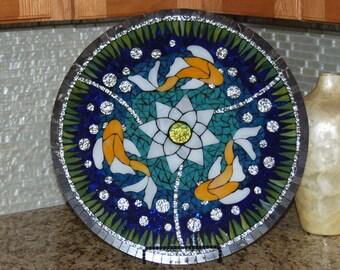 "Lazy Susan, Koi Pond, Stained Glass Mosaic, 18"""