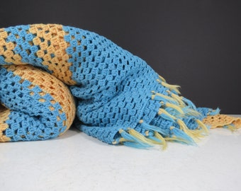Thin Crochet Blanket // Vintage Retro Lightweight Throw Blanket Bedding Blue and Yellow Geometric Striped Pattern Tassel Edging Boho Decor