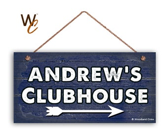 "Kid's Clubhouse Sign, Personalized Sign, Kid's Name, Kids Door Sign, Baby Nursery, 5"" x 10"" Sign, Navy Blue Rustic Sign,"