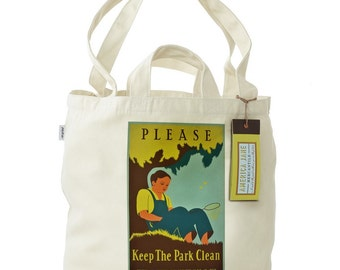 FREE SHIPPING Recycled Cotton Tote Bag with Dual Handles- Please Keep the Park Clean