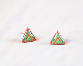 Triangle Post Earrings, Mens Earrings, Geometric Earrings Studs, Red Green Stud Earings, Earrings Studs