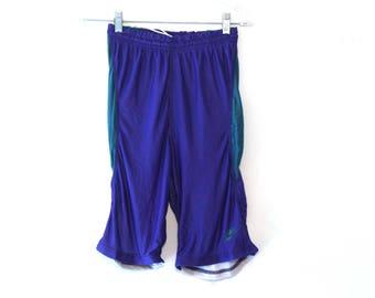Vintage 80s nike spandex shorts mens blue green 90s