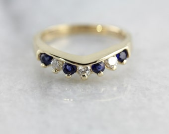 Modern Sapphire and Diamond Band with Tapered, Guard Style Profile 996VYV-P