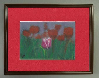 """5x7 Original Signed Soft Pastel Painting, Flower Artwork, """"One Special Tulip"""""""