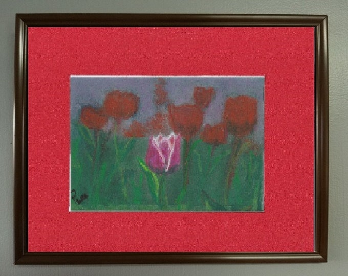 "5x7 Original Signed Soft Pastel Painting, Flower Artwork, ""One Special Tulip"""
