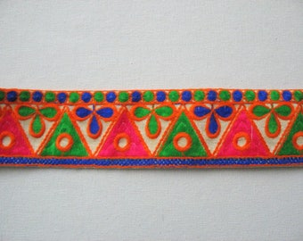 Vibrant Multicolour  Kutchi Tribal Embroidered Trim Sold by Yard