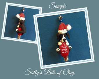 Mantle Great Dane DOG Santa Christmas Light Bulb Ornament Sally's Bits of Clay PERSONALIZED FREE with dog's name