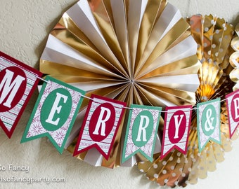 Merry & Bright Holiday Banner / Holiday Banner / Merry and Bright / Christmas Banner / Red and Green Holiday Banner