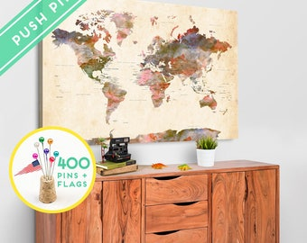 Custom large world map canvas gray white personalized gift large world map canvas pin board watercolor terra vintage countries capitals gift idea gumiabroncs Image collections
