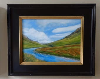 """Verdant River Flow 1 by Melissa Wadsworth - Landscape oil painting of green mountains, blue river and a sky full of clouds 20"""" x 24"""""""