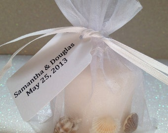 10 Candle/Sea Shell Wedding Favors, Beach Wedding Favors, Beach Theme Party, Beach Favors and Sea Shell Wedding Favors