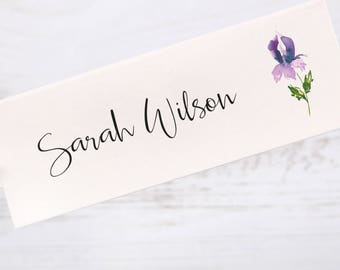 Table Place Cards Folded Floral Midnight Iris Lilac/Purple/Lavender