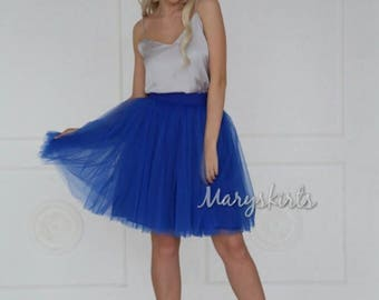 Tulle skirt with matching lining, fixed waistband with hidden zipper (color - Blue)