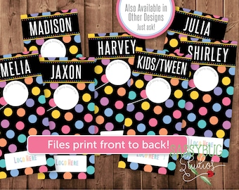 Style Rack Dividers | Dots on Black | Props | Front and Back | Printable PDF Files | INSTANT Digital DOWNLOAD