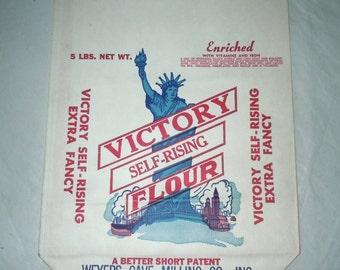 Vintage 1940s paper Victory self rising flour bag unused was 10.00