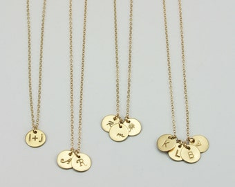 Tiny Gold Disc Necklace, Multiple Disc Necklace, Personalized Disc Necklace, Small Gold Circle Necklace, Small Gold Necklace, 9.5mm LC100MDG