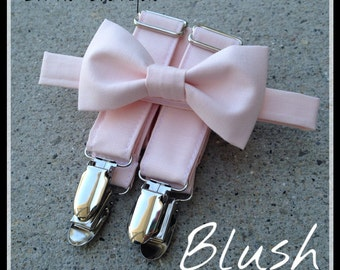 Blush/ Petal Bow Tie and Suspender Set for men, boys, toddlers, and babies. Sent 1-3 business days after you order