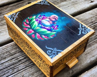 Vintage Majestic Owl Jewelry Box Handcrafted Wooden Jewelry