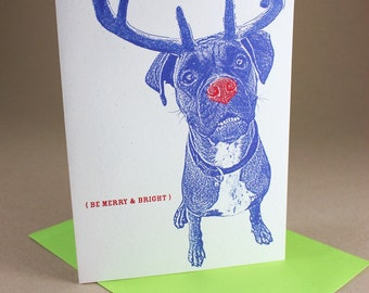 Boxer Rudolph Merry and Bright Holiday Cards - 4 Pack, Dog Christmas Cards