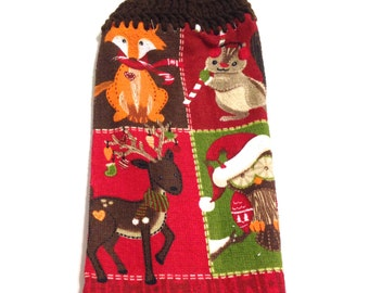 Christmas Animals Hand Towel With Espresso Brown Crocheted Top