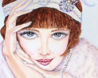 Watercolor Fashion Illustration Fashion Print Retro Fashion Portrait Swarovski Crystal Fashion Painting 1920's Fashion Art Illustration Art