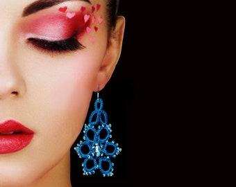 Tatted lace Earrings Handmade  frivolite Earrings  with  Czech  seed beads, tatting, lace jewelry,