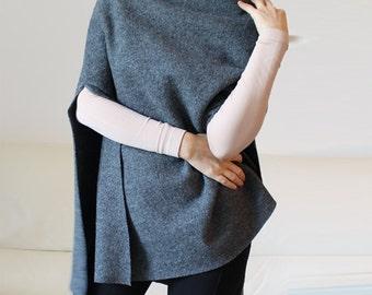 Poncho, wool cape, minimal gray wool poncho cape