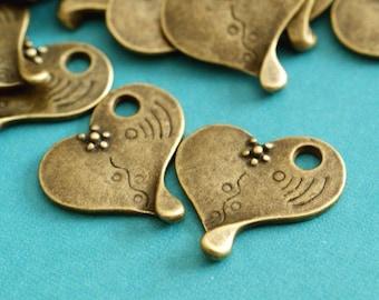 10pcs Antique Brass Heart with Flower Pendants