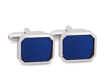 Facet Rectangle Cufflinks with Plain Blue Enamel, Plain Blue Octagon Cufflinks