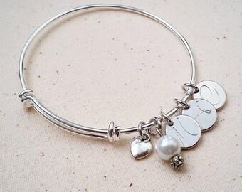 Handstamped Initial Bangle Bracelet