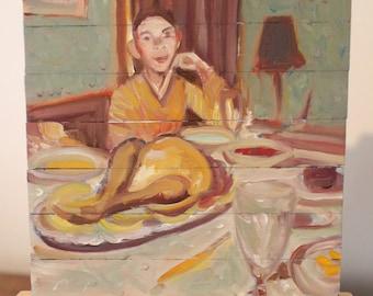 "Small Stories: Original miniature oil painting  'Feast"""