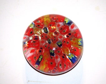 Vintage Murano Glass Millefiori Cane Paperweight Red,Yellow, White and Blue Canes, 1970s