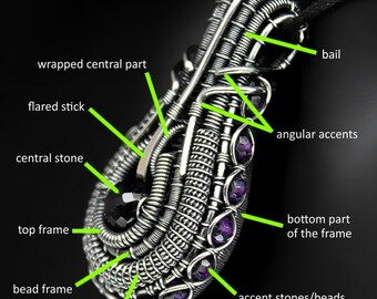 Complex wire wrapped pendant TUTORIAL - no soldering, step by step instructions on every single detail of the pendant. DIY wirewrap heady