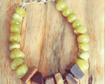 For him or her. Bracelet with olive color Jade and bone beads