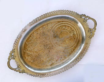 Vintage brass tray Large metal tray Etched ornate tray Lace rim tray Oriental Indian tray Islamic decorated brass tray