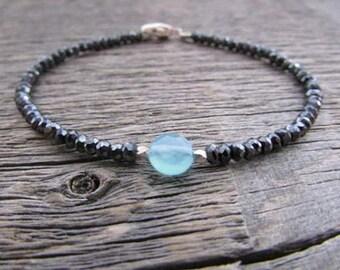 Chalcedony Bracelet, Mystic Spinel Bracelet, Chalcedony Jewelry, Spinel Jewelry, Stack Bracelet, Gemstone Bracelet, Bead Bracelet