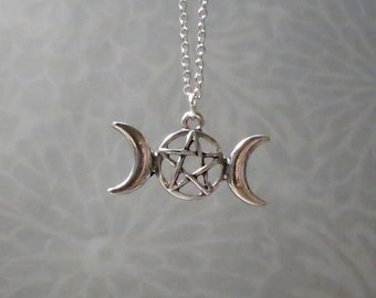 Witch necklace etsy triple goddess necklace choose your length moon charm wicca moon phases aloadofball Image collections